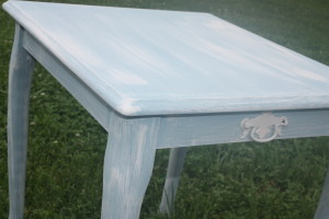chalk painted side table white washed