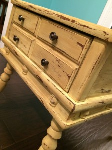Maize yellow chalk painted side table with swindle legs