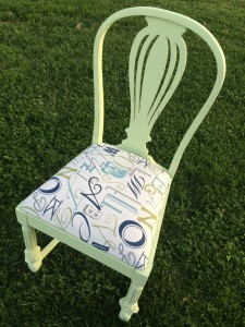 chalk painted and re-upholstered wood chair