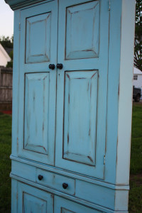 Blue Heron chalk painted waxed and distressed corner cabinet