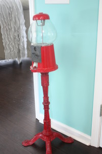 before picture of red vintage gumball machine