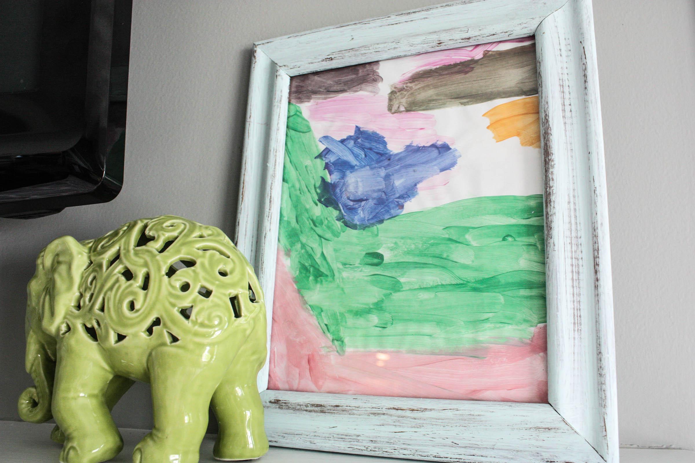 framing children's art work on mantle