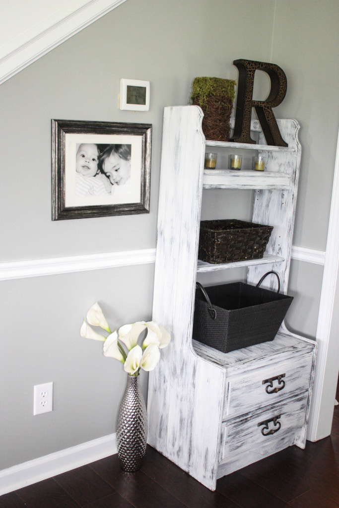chalk painted and distressed shoe storage