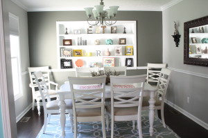 Dining Room makeover with built in shelving
