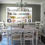 Renovated dining room with white painted built in shelves