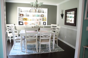 dining room makeover with white painted built in shelves
