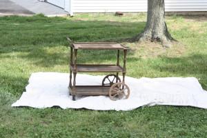 vintage tea cart before painting