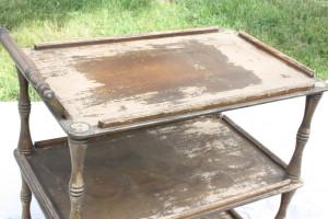rough wooden vintage tea cart