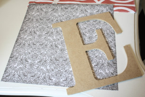 MPI Wood letter and scrapbook paper used to make a modge podge letter