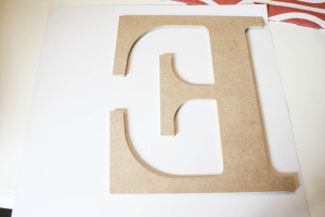 How to make a modge podge letter. MPI wood letter and scrapbook paper.