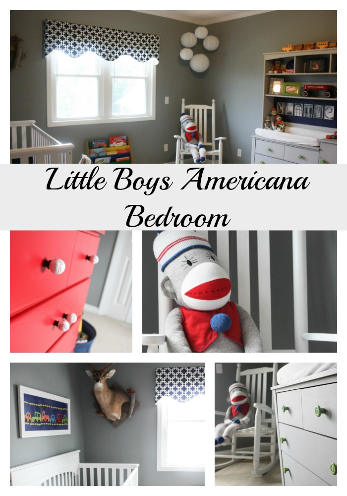 A Little Boyu0027s Americana Bedroom
