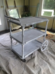 vintage tea cart after it has been primed