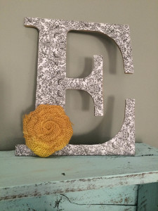 How to make a modge podge letter with embellishment.