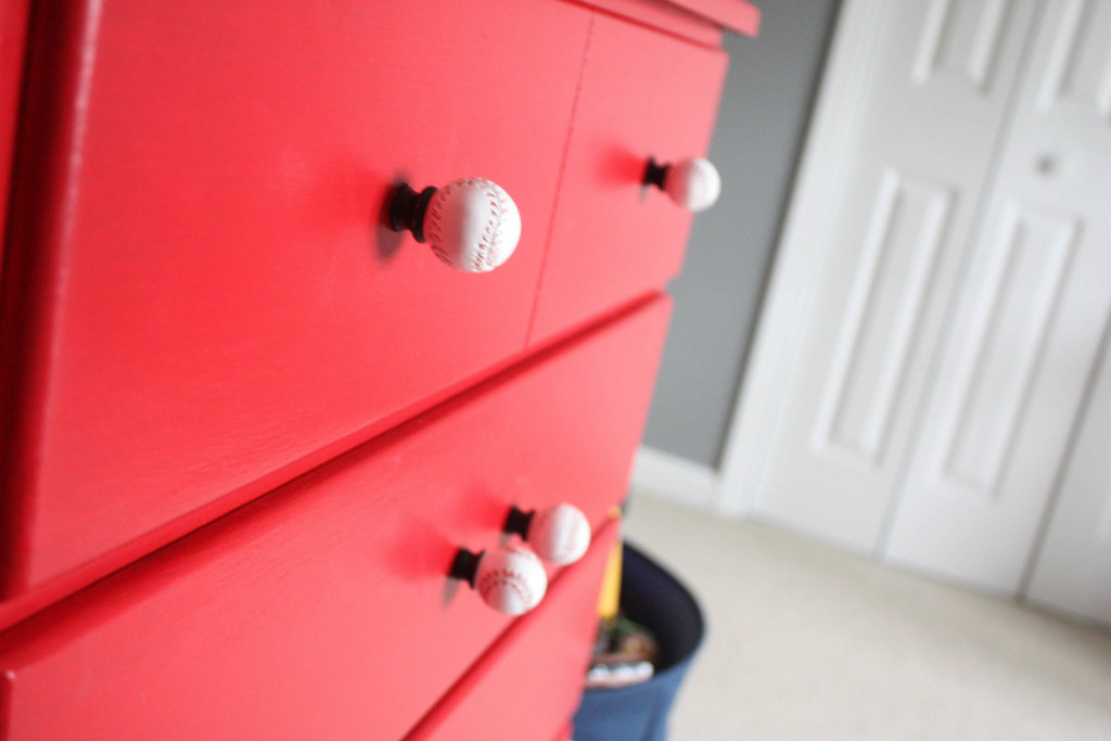 Little Boy's Americana Bedroom. Red chest with baseball knobs.