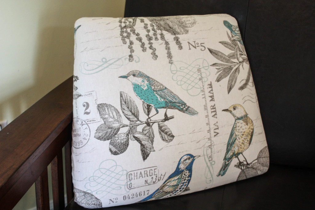 Free auction chair gets revived~seat cushion recovered in beautiful bird pattern