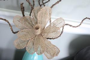 Cute burlap flower in vase