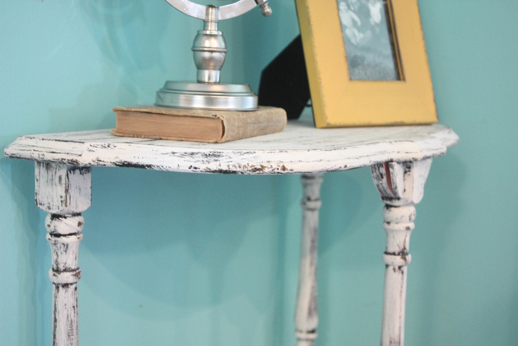 distressed half table