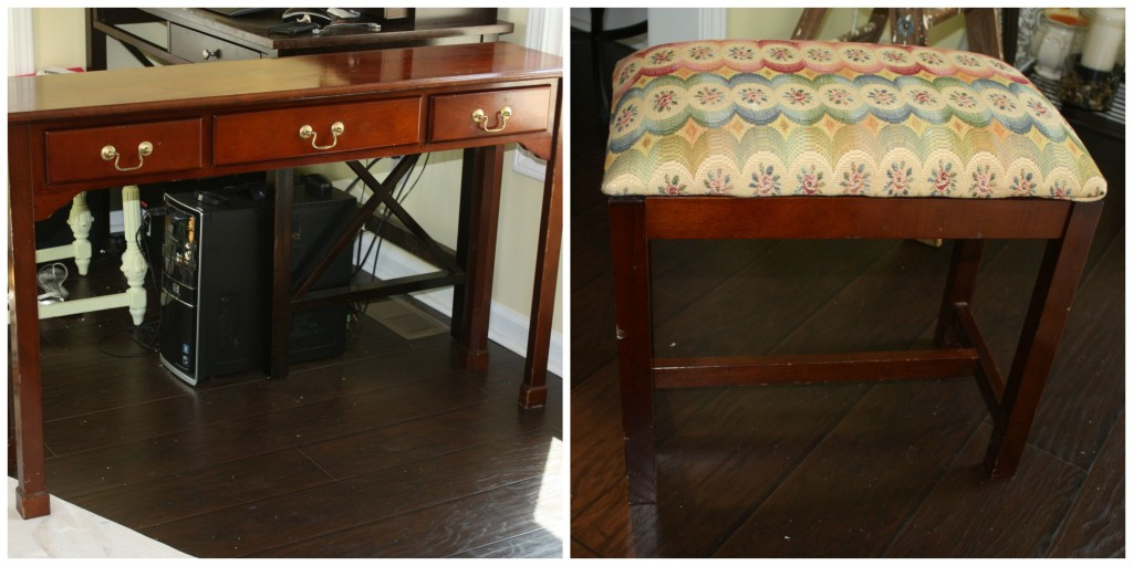 Before Pictures of console table and bench before chalk painting