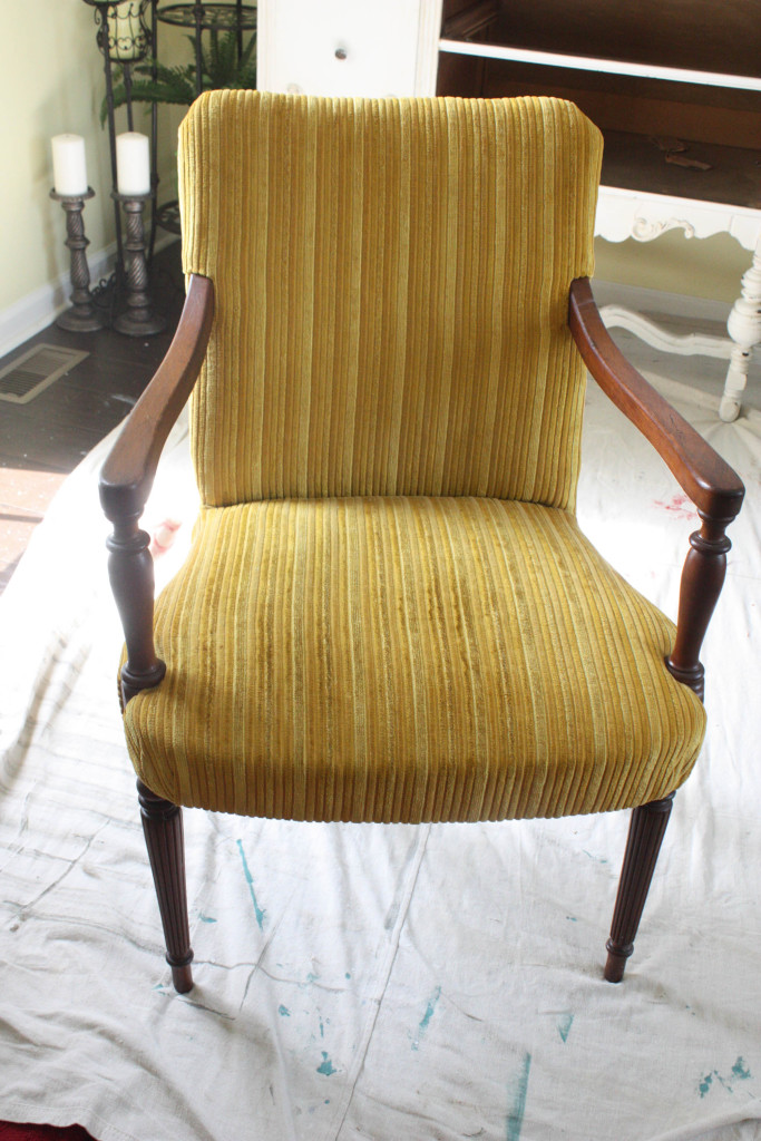 Fabric painted chair before picture