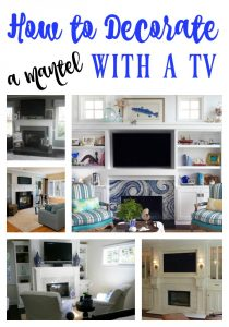 One of the biggest challenges in home decorating is how to decorate your mantel around the TV. This post highlights several different ideas on how to do just that! Must pin to remember this one.