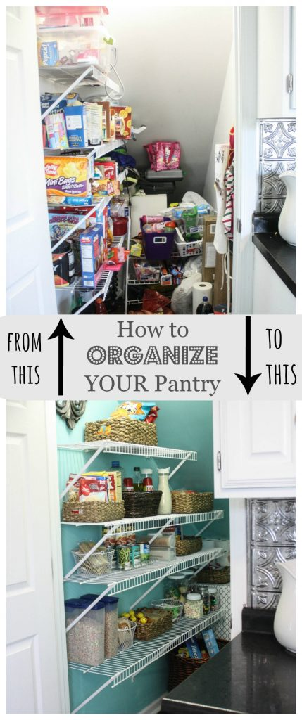 Easy and Practical ways to Organize your Pantry using storage baskets and bins from the Dollar Store!