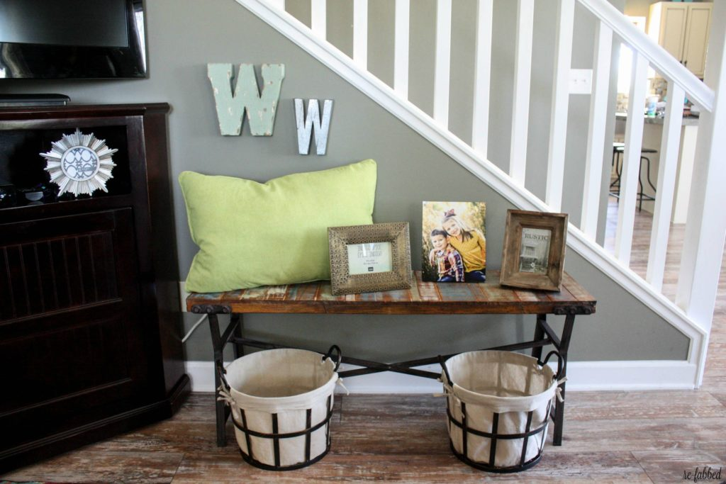 Colorful farmhouse dining and living room makeover re fabbed for How to fill empty corner in living room
