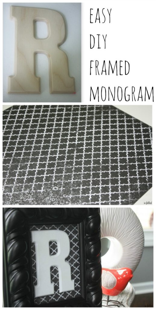 DIY Framed Mongram with Scrapbook Paper