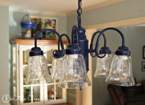Navy Spray Painted Chandelier