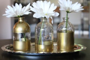 Gold dipped bud vases
