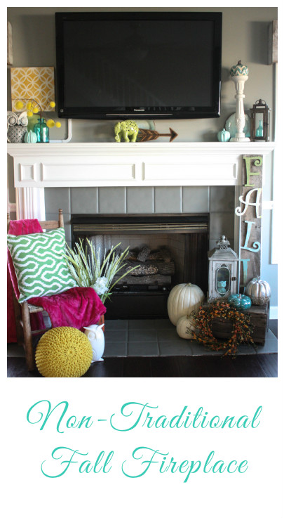 Non-Traditional Fall Fireplace that incorporates lots of styles and textures, as well as a variety of colors! Check out the post to see all of the pictures and details! Totally gorgeous!