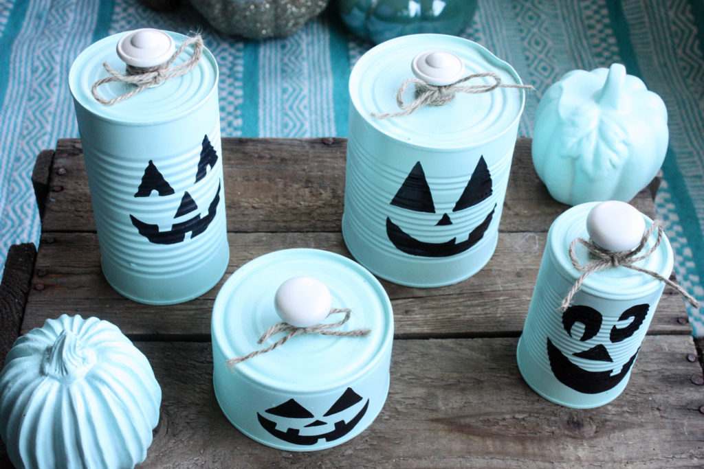 tin can pumpkins with knob top