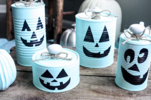 tin can pumpkins
