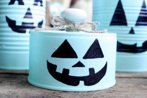tin can pumpkin face