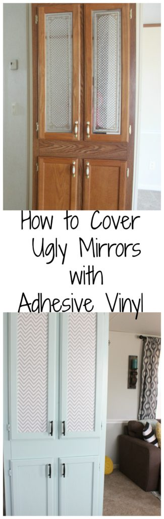 Fun and Easy tutorial on how to use Adhesive Vinyl to cover outdated mirrors! Can't believe the difference- and for under $6!