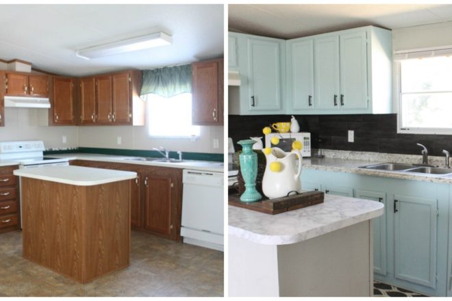 Our $40 Backsplash {Using Vinyl Flooring}