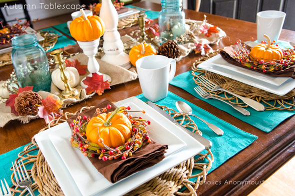 Turquoise and Orange Thanksgiving Tablescape