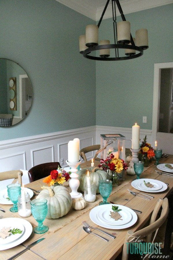 Turquoise Fall Tablescape Thanksgiving