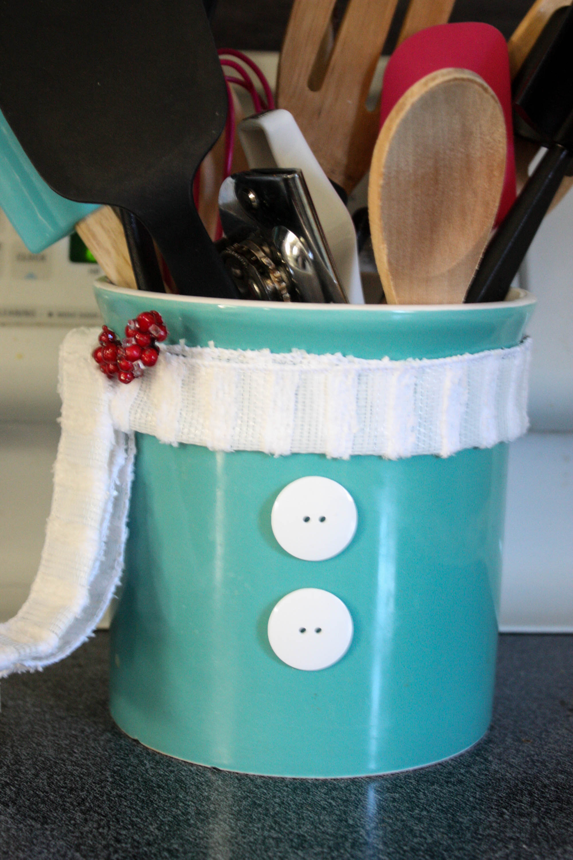 Diy Snowman Utensil Holder Re Fabbed