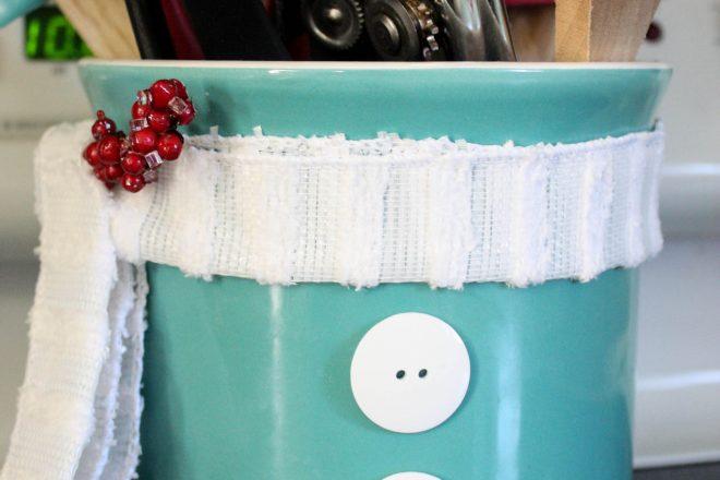 DIY Snowman Utensil Holder