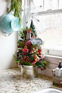 Kitchen Christmas Tree in Bucket