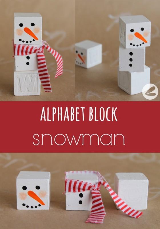 Alphabet Block Snowman Craft