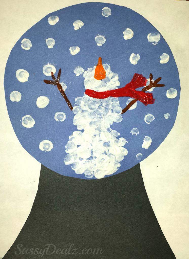 Snowman Fingerprint Snow Globe