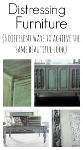 TONS of examples of distressed furniture pieces and all of the different techniques used to create this gorgeous look! This is a must pin to remember for the future!