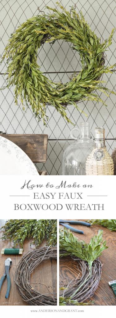 Easy DIY Boxwood Wreath Tutorial