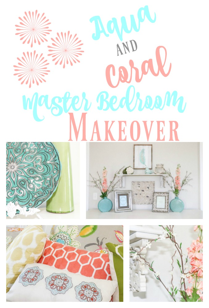 Amazing transformation of a dark and dreary master bedroom into an aqua and coral bright oasis!
