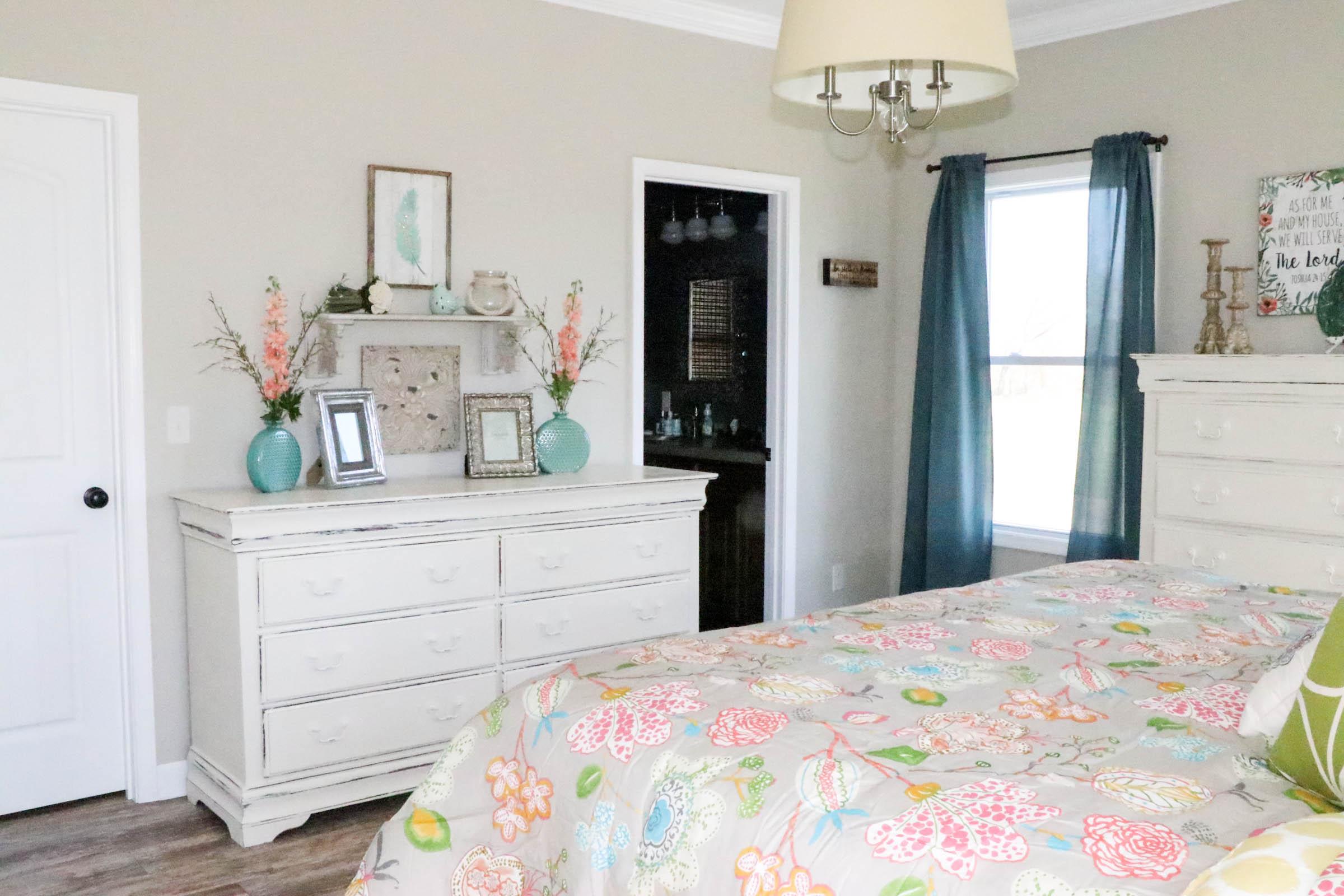 Master Bedroom Oasis aqua & coral master bedroom makeover - re-fabbed