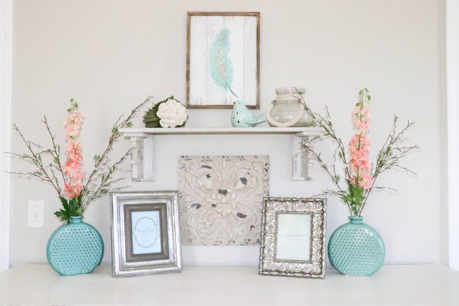 Aqua & Coral Master Bedroom Makeover
