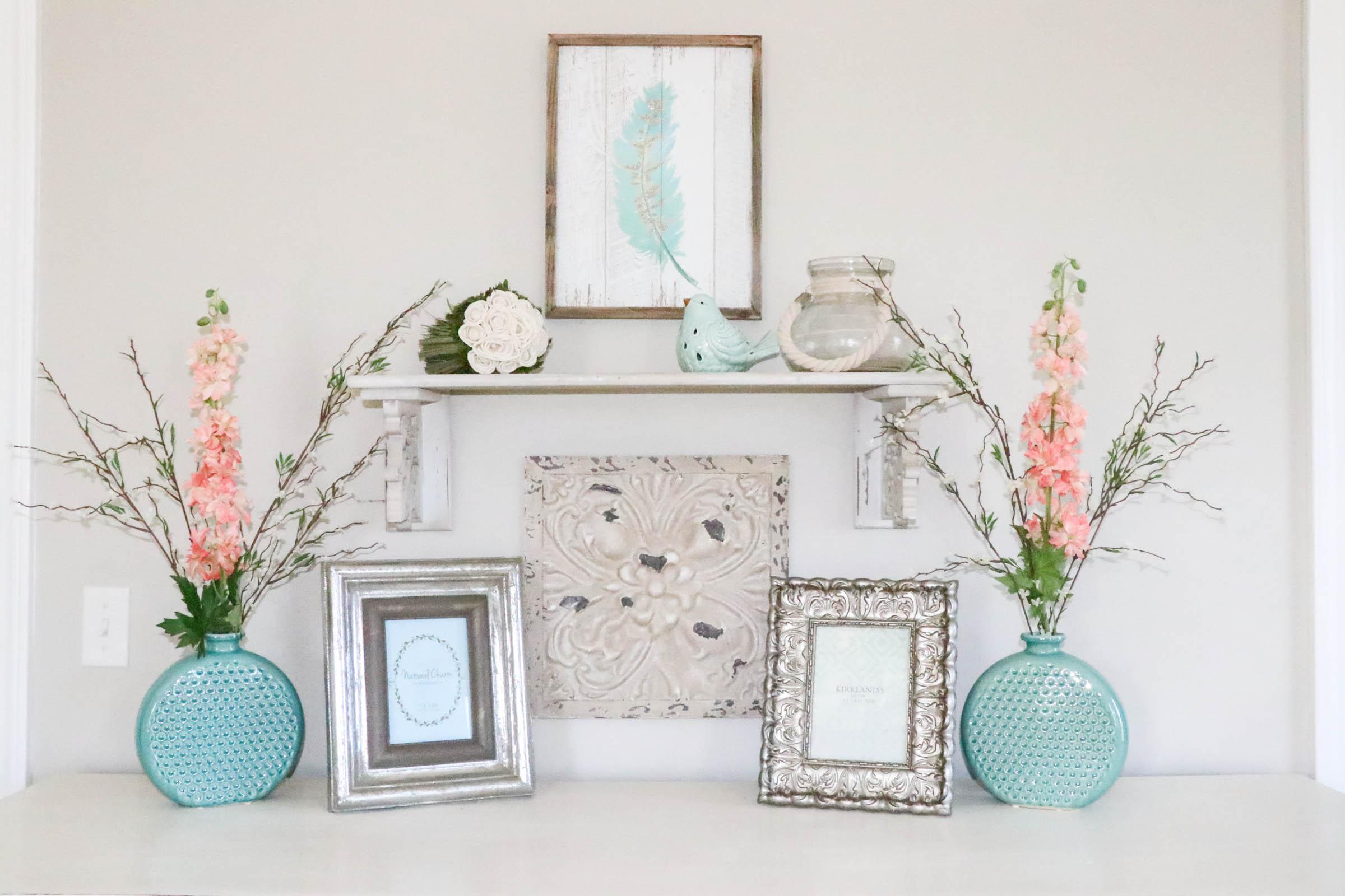 Aqua & Coral Master Bedroom Makeover
