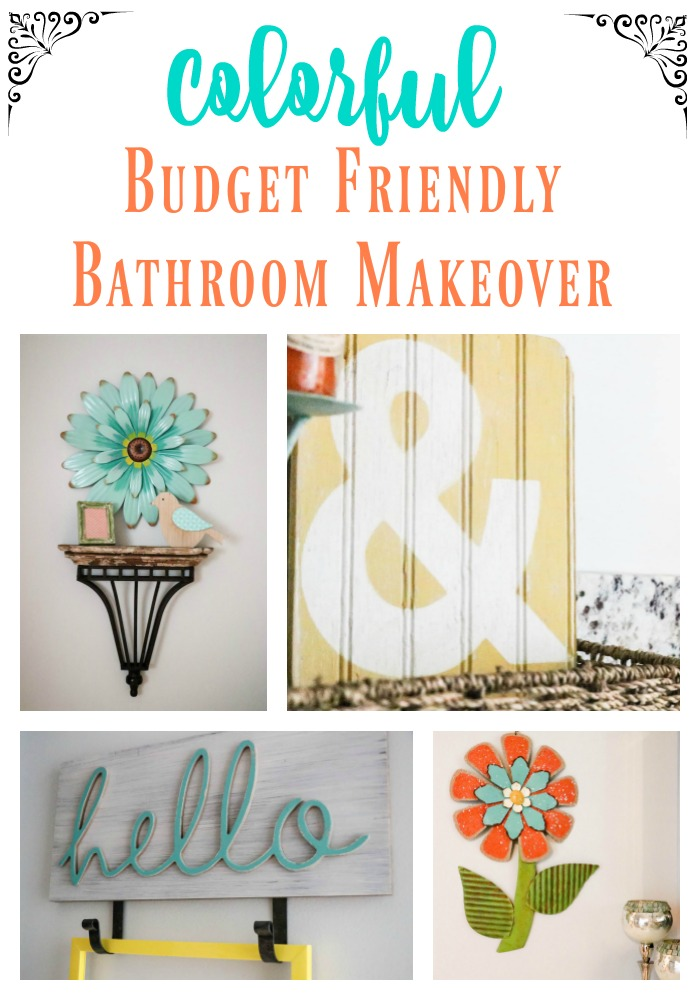 Check out this gorgeous colorful SUPER budget friendly bathroom makeover!