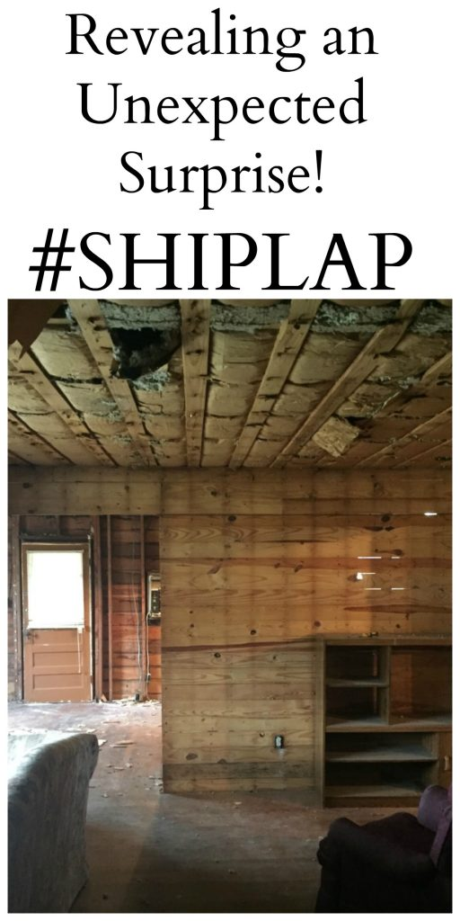 When you buy a fixer upper that needs MAJOR work, you never know what you will find. I was sure happy to reveal some awesome SHIPLAPunder those old walls!